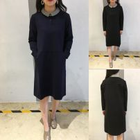 Dress Autumn of 2018 Black, Navy M,L,XL,2XL Mid length dress singleton  Long sleeves commute Polo collar Solid color Socket A-line skirt routine Type A Korean version Pockets, panels, buttons 71% (inclusive) - 80% (inclusive) knitting cotton