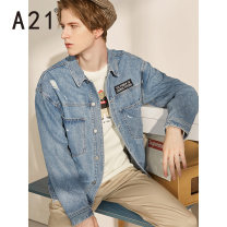 Jacket A21 Youth fashion Light medium blue 165/80A/S 170/84A/M 175/88A/L 180/92A/XL 185/96A/XXL routine easy Other leisure spring F491124001 Cotton 100% Long sleeves Wear out Lapel American leisure youth routine Single breasted Autumn of 2019 Pure e-commerce (online only) cotton More than 95%