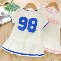Dress Blue, pink female Other / other Other 100% summer motion Short sleeve Solid color cotton A-line skirt Class B 2 years old, 3 years old, 4 years old, 5 years old, 6 years old Chinese Mainland