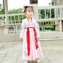 Tang costume Other 100% female spring and autumn routine There are models in the real shot Han children Solid color Class A polyester fiber 2, 3, 4, 5, 6, 7, 8, 9, 10, 11, 12 years old K19203 Chinese Mainland Guangdong Province Cotton liner Dongguan City K19203 white pink 90,100,110,120,130,140,150