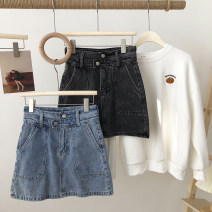 skirt Spring 2021 S,M,L Blue, black Short skirt commute High waist A-line skirt Solid color Type A 18-24 years old 31% (inclusive) - 50% (inclusive) Denim pocket Korean version