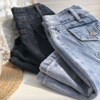 skirt Summer 2020 S,M,L Light blue, smoke grey Short skirt commute High waist A-line skirt Solid color Type A 18-24 years old Denim cotton Button, pocket Korean version