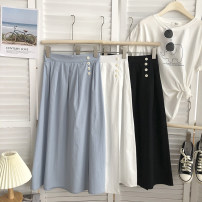 skirt Summer 2021 M, L White, black, light blue Mid length dress commute High waist A-line skirt Solid color 18-24 years old 31% (inclusive) - 50% (inclusive) polyester fiber pocket Korean version
