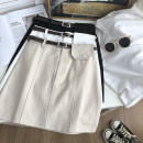 skirt Summer 2021 S,M,L White, black, apricot Short skirt commute High waist A-line skirt Solid color Type A 18-24 years old Button , pocket , belt Korean version