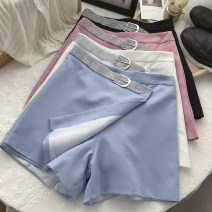 Casual pants White, black, light blue, pink S,M,L Summer 2021 shorts Wide leg pants High waist commute routine 18-24 years old 51% (inclusive) - 70% (inclusive) polyester fiber Korean version belt Asymmetry