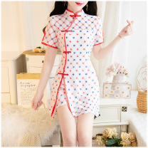 Dress Summer 2021 White, blue S,M,L Short skirt Two piece set Short sleeve commute stand collar middle-waisted Abstract pattern zipper routine Retro Pocket, zipper, lace and buckle are slim 51% (inclusive) - 70% (inclusive) Lace Cellulose acetate