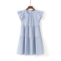 Dress Summer 2021 Middle-skirt singleton  Short sleeve Crew neck High waist Solid color Condom A-line skirt Flying sleeve Type A Other / other S,M,L