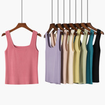 Vest sling Summer 2021 Violet, malachite blue, rose powder, gentle rice, primrose yellow, advanced black, skin powder, mint green M, L singleton  have cash less than that is registered in the accounts Self cultivation Versatile camisole Solid color Other / other