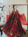 National costume / stage costume Summer of 2019 Lingxing red top + red black skirt 3 meters, Lingxing red top + Red Black 6 meters, Lingxing black top + red black skirt 3 meters, Lingxing black top + Red Black Skirt 6 meters, Clematis red big sleeve, Clematis black big sleeve S,M,L,XL Flower God