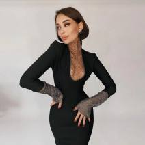 Dress Summer 2021 black XS,S,M,L Short skirt singleton  Long sleeves commute Crew neck High waist Solid color zipper Pencil skirt routine 25-29 years old Retro 91% (inclusive) - 95% (inclusive) knitting polyester fiber