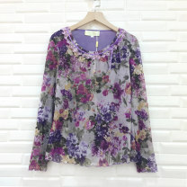 Middle aged and old women's wear Spring 2020, winter 2020, autumn 2020 Purple, purple (short sleeve) fashion T-shirt Self cultivation singleton  Broken flowers 40-49 years old Socket moderate Crew neck routine routine Feiqi Gauze polyester fiber Long sleeves