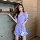 Dress Summer 2021 White, purple S,M,L,XL Middle-skirt singleton  Short sleeve commute V-neck middle-waisted Solid color zipper A-line skirt other Others Type A Xiaoxiangyi fan lady Buttons, zippers, stitches, folds L3061# 81% (inclusive) - 90% (inclusive) other other