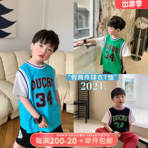 T-shirt Black, green, blue, black pre-sale, green pre-sale, blue pre-sale OO+KIDS 80cm,90cm,100cm,110cm,120cm,130cm,140cm,150cm neutral summer Short sleeve Crew neck Korean version There are models in the real shooting other number other 2 years old, 3 years old, 4 years old, 5 years old, 6 years old