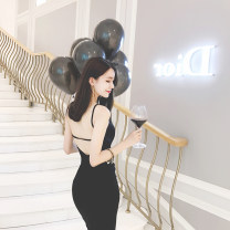 Dress Summer 2017 Elegant black package XS spot, s spot, m spot, l spot Middle-skirt singleton  Sleeveless commute Crew neck middle-waisted Solid color Socket other routine camisole 18-24 years old Type H Other / other Korean version backless 51% (inclusive) - 70% (inclusive) cotton
