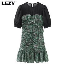 Dress Spring 2021 green XS (85-95 kg), s (96-106 kg), m (107-117 kg) Mid length dress singleton  Short sleeve commute Crew neck High waist lattice Socket Ruffle Skirt puff sleeve Others Type A Lizzy Retro Zipper, stitching, pleating 51% (inclusive) - 70% (inclusive) cotton