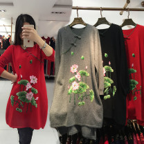 Middle aged and old women's wear Winter 2016, autumn 2016 Red, gray, black L,XL,XXL,XXXL fashion sweater easy singleton  other 50-59 years old Socket moderate V-neck Medium length routine Zhenzhirong Embroidery Cashmere, wool, others 81% (inclusive) - 90% (inclusive)
