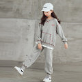 suit MY GIRL MY BOY grey 120cm,130cm,140cm,150cm,160cm,170cm female spring and autumn leisure time Long sleeve + pants 2 pieces routine There are models in the real shooting Socket nothing Solid color cotton elder Expression of love 20210116-16 Class B Cotton 95% other 5% Chinese Mainland