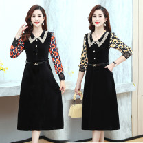 Dress Spring 2021 XL,2XL,3XL,4XL,5XL Mid length dress singleton  Long sleeves commute Doll Collar High waist Decor Socket other other Others 40-49 years old Type A Other / other More than 95% other other