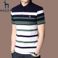 T-shirt Fashion City Blue, red, yellow, green, gray, light green routine 165/M,170/L,175/XL,180/XXL,185/XXXL,190/XXXXL Hazzys Short sleeve Lapel easy daily summer middle age routine Business Casual other 2021 stripe Embroidered logo cotton Cityscape No iron treatment International brands