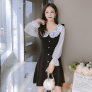 Dress Autumn 2021 black S,M,L,XL Mid length dress singleton  Long sleeves commute Crew neck middle-waisted Solid color Socket A-line skirt other Type A Korean version Splicing 81% (inclusive) - 90% (inclusive) knitting