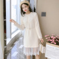Dress Autumn 2021 S,M,L,XL Mid length dress singleton  Long sleeves commute Crew neck middle-waisted Solid color Socket A-line skirt other Type A Korean version Splicing 81% (inclusive) - 90% (inclusive) knitting