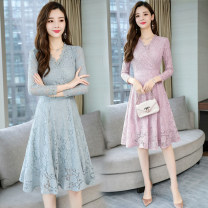 Dress Autumn 2021 Black, blue, pink S,M,L,XL,2XL Mid length dress singleton  commute V-neck middle-waisted Solid color zipper A-line skirt routine Others Type A Korean version Cut out, lace 51% (inclusive) - 70% (inclusive) Lace Cellulose acetate