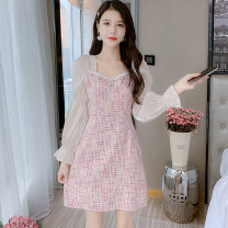 Dress Autumn 2021 Pink, blue S,M,L,XL Mid length dress singleton  Long sleeves commute square neck middle-waisted other zipper A-line skirt puff sleeve Type A Korean version Bowknot, stitching 81% (inclusive) - 90% (inclusive) Light tweed