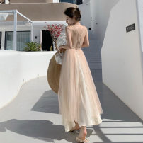 Dress Summer 2021 Champagne XS,S,M,L longuette singleton  Sleeveless Sweet V-neck High waist Solid color Socket A-line skirt other camisole Type A backless 81% (inclusive) - 90% (inclusive) other other Bohemia