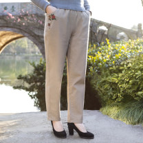 Middle aged and old women's wear Spring 2020 Black Camel leisure time trousers easy singleton  Solid color 40-49 years old thin A730 Embroidery pure cotton Cotton 100% 96% and above Pure e-commerce (online only) trousers