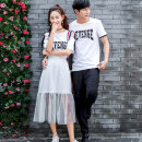 Dress Summer of 2019 Female s / 155 female M / 160 female L / 165 female XL / 170 male M / 170 male L / 175 male XL / 180 male XXL / 185 Mid length dress Two piece set Short sleeve commute Crew neck middle-waisted letter Socket other Others 18-24 years old Ensun  Korean version 6231S More than 95%