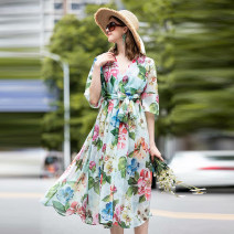 Dress Summer 2020 Decor S,M,L,XL Middle-skirt singleton  elbow sleeve commute V-neck High waist zipper pagoda sleeve Others 25-29 years old Type A Ye Lixin Retro Lace up, printed 51% (inclusive) - 70% (inclusive)