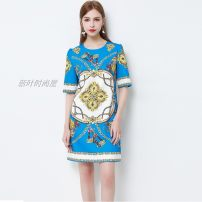 Dress Spring 2020 Picture color S,M,L,XL Short skirt singleton  elbow sleeve commute Crew neck Loose waist zipper routine Others 25-29 years old Type A Ye Lixin Retro Nail beads, printing 51% (inclusive) - 70% (inclusive)