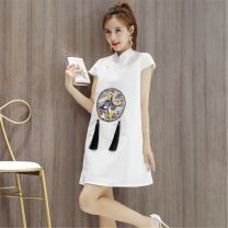 Dress Summer 2021 white S,M,L,XL,2XL longuette singleton  Short sleeve commute stand collar High waist Solid color A-line skirt routine 25-29 years old Type A Other / other Korean version Embroidery, zipper brocade cotton