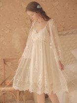 Nightdress Other / other white 160(M),165(L),170(XL) pajamas summer Solid color youth V-neck lace