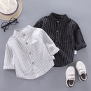 shirt Black stripe with white stripe foot&cool male 80cm 90cm 100cm 110cm 120cm spring and autumn leisure time stripe cotton stand collar Cotton 90% other 10% HEIT