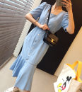 Dress Summer 2020 Dark blue, light blue S,M,L Mid length dress singleton  Short sleeve commute square neck High waist Solid color Single breasted Ruffle Skirt puff sleeve 18-24 years old Type H Other / other Korean version 31% (inclusive) - 50% (inclusive) Denim cotton