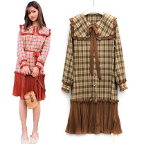 Dress Spring 2020 Red, brown S,M,L Mid length dress singleton  Long sleeves commute Admiral Loose waist lattice Single breasted Pleated skirt shirt sleeve Type A Other / other Korean version Bow, ruffle, fold, Auricularia auricula, stitching H8809
