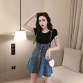 skirt Summer 2020 S,M,L,XL Single denim skirt, black knitted T-shirt, denim skirt + black T-shirt set Short skirt commute High waist Strapless skirt Solid color 18-24 years old 81% (inclusive) - 90% (inclusive) Denim Other / other cotton Button, strap Retro