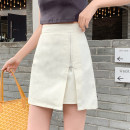skirt Spring 2021 S,M,L,XL Apricot, black Short skirt commute High waist A-line skirt Solid color Type A 18-24 years old 7112# 71% (inclusive) - 80% (inclusive) Denim Other / other cotton zipper