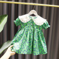 Dress Purple, green female Other / other Cotton 100% spring and autumn Korean version Short sleeve Broken flowers cotton Big swing Class A 12 months, 6 months, 9 months, 18 months, 2 years old, 3 years old, 4 years old, 5 years old