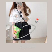 skirt Summer 2020 L,M,S Cowboy black. Short skirt Versatile High waist A-line skirt Solid color Denim