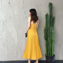 Dress Summer 2017 Yellow roller in stock S [retro yellow] m [milk delivery paste] l [manual pressing] longuette singleton  Sleeveless commute square neck middle-waisted Solid color zipper Pleated skirt camisole 18-24 years old Type A lady Open back fold bandage 71% (inclusive) - 80% (inclusive)