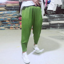 Women's large Summer 2020, spring 2020 Black, yellow, green 3XL is suitable for 135-155 kg, 4XL for 155-170 kg, 5XL for 175-190 kg, and 6xl for 195-220 kg trousers singleton  commute Straight cylinder moderate Solid color Korean version Polyester, cotton Three dimensional cutting trousers