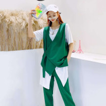 Women's large Spring 2020 Black, green 3XL is suitable for 130-155 kg, 4XL for 155-170 kg, 5XL for 170-190 kg, and 6xl for 190-220 kg T-shirt Three piece set commute easy moderate Cardigan Short sleeve Solid color Korean version routine Polyester, cotton Three dimensional cutting
