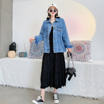 Women's large Spring 2021 Blue suit, black suit 3XL is suitable for 130-150 kg, 4XL for 150-170 kg, 5XL for 170-190 kg, and 6xl for 190-210 kg Jacket / jacket singleton  commute easy moderate Cardigan Long sleeves Solid color Korean version Crew neck routine polyester Three dimensional cutting pocket