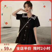 Women's large Summer of 2019 Black [2-piece western style dress] white [hip covering dress] M [collection and purchase] l [priority delivery] XL [quality assurance] 2XL [no body selection] 3XL [shopping worry free] 4XL [support return] 5XL [quick delivery from stock] Dress singleton  Sweet easy other