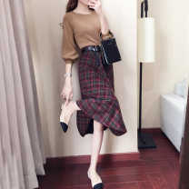 Dress Spring of 2019 Spot delivery (belt free) S M L XL Mid length dress Two piece set three quarter sleeve commute Crew neck High waist Solid color Socket Big swing bishop sleeve Others 25-29 years old Audubon / Audubon Korean version Zipper random needle repair rust treatment resin fixation other