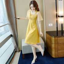 Dress Summer 2021 yellow S M L XL Mid length dress singleton  Short sleeve commute V-neck High waist Solid color Socket A-line skirt routine Others 25-29 years old Type A Audubon / Audubon Korean version Splicing mesh More than 95% other Other 100% Pure e-commerce (online only)