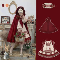 Dress Autumn 2020 S,M,L,XL longuette singleton  Long sleeves Sweet Crew neck middle-waisted Solid color zipper Cake skirt Princess sleeve Others 18-24 years old Type A Other / other bow More than 95% Chiffon polyester fiber Lolita