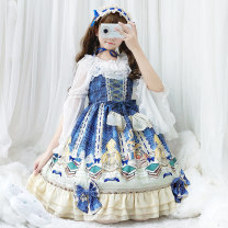 Dress Summer of 2019 Blue suspender skirt, blue suspender skirt + headdress, white with chiffon shirt S,M,L Middle-skirt singleton  Sleeveless Sweet One word collar middle-waisted Decor Socket Princess Dress other camisole Type X Bow, ruffle, print Lolita